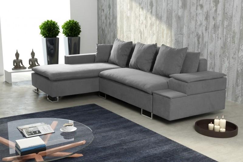schlafsofa sofa couch ecksofa eckcouch in hellgrau mit. Black Bedroom Furniture Sets. Home Design Ideas