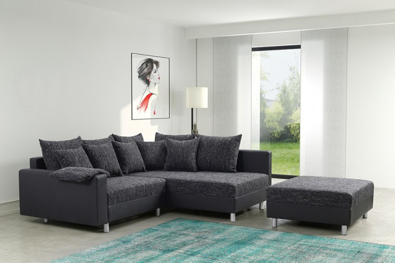 modernes sofa couch ecksofa eckcouch in schwarz eckcouch mit hocker minsk r ebay. Black Bedroom Furniture Sets. Home Design Ideas
