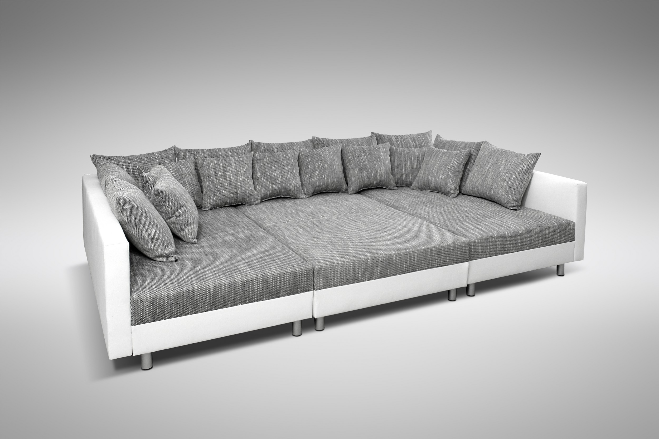 sofa couch ecksofa eckcouch in weiss hellgrau eckcouch mit hocker minsk xxl ebay. Black Bedroom Furniture Sets. Home Design Ideas