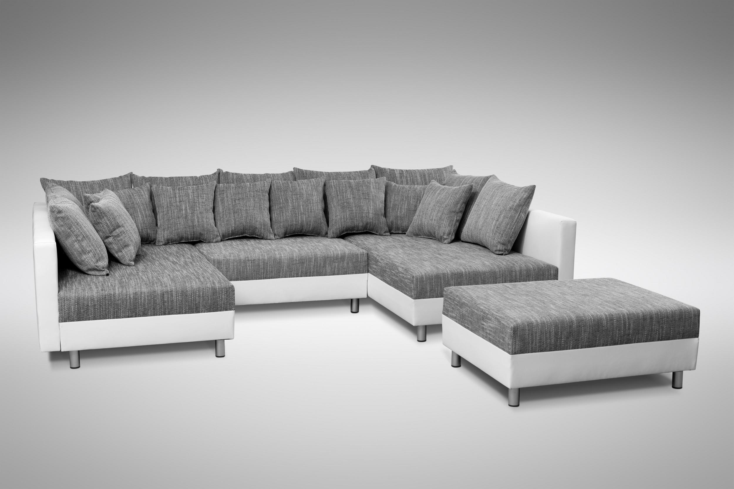 Eckcouch  Sofa Couch Ecksofa Eckcouch in weiss / hellgrau Eckcouch mit ...