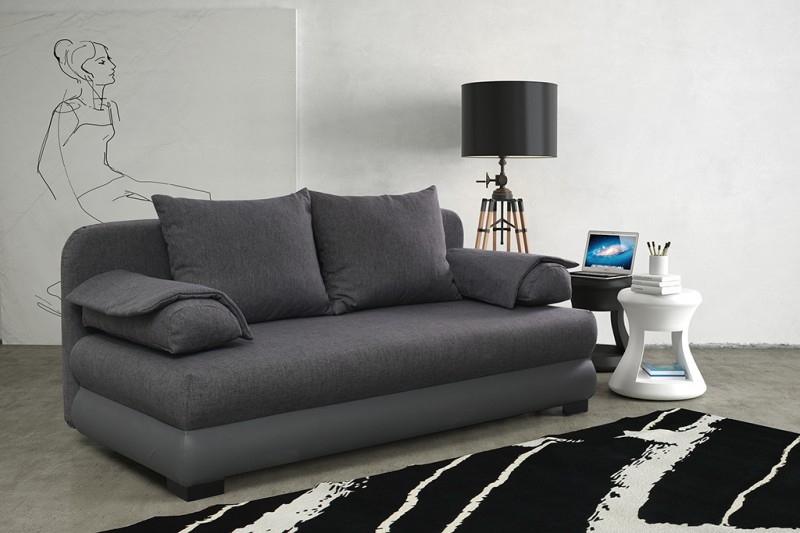 schlafsofa in grau fur modernes und funktionales. Black Bedroom Furniture Sets. Home Design Ideas