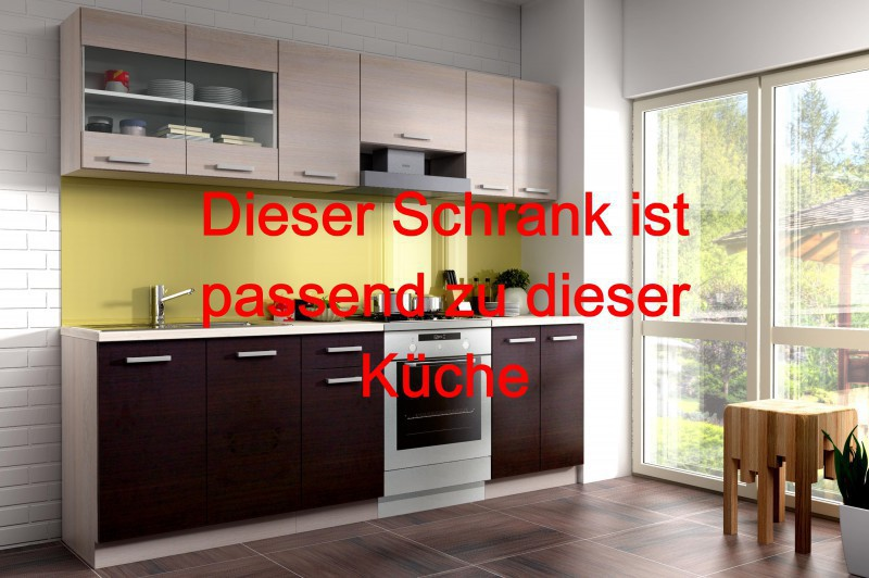 k chen unterschrank 40 cm f r das modell mary 240 eiche chamonix hell dunkel ebay. Black Bedroom Furniture Sets. Home Design Ideas