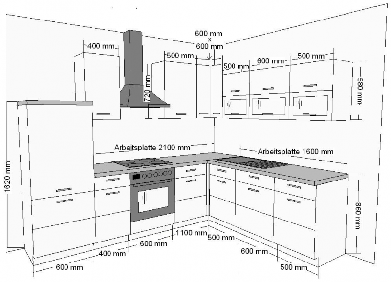 winkelk che jessy 270 x 220cm k chenzeile k chenblock variabel stellbar in weiss merapi k chen. Black Bedroom Furniture Sets. Home Design Ideas