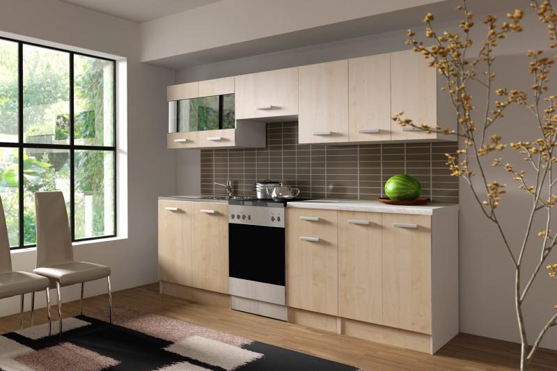 k che dominika 240 cm k chenzeile k chenblock variabel stellbar in ahorn natur holznachbildung. Black Bedroom Furniture Sets. Home Design Ideas