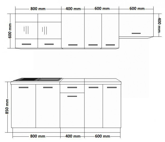 k che mary 240 cm k chenzeile k chenblock variabel stellbar in eichenholzoptik chamonix hell. Black Bedroom Furniture Sets. Home Design Ideas