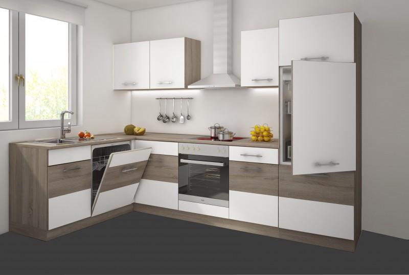 top k che 172x280 cm k chenzeile k chenblock sonoma eiche tr ffel weiss neu. Black Bedroom Furniture Sets. Home Design Ideas