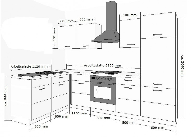k chenm bel ma e. Black Bedroom Furniture Sets. Home Design Ideas