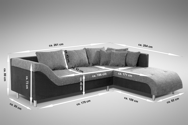 sofa couch ecksofa eckcouch sofagarnitur in graubraun schwarz male r ebay. Black Bedroom Furniture Sets. Home Design Ideas