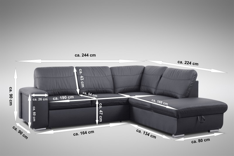 schlafsofa sofa couch ecksofa eckcouch in schwarz mit. Black Bedroom Furniture Sets. Home Design Ideas