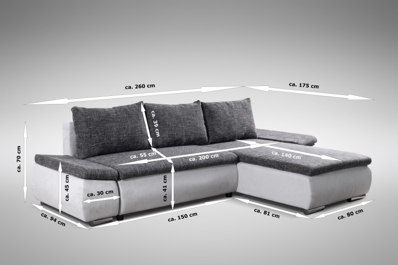 schlafsofa sofa couch ecksofa eckcouch schlaffunktion baku l r ebay. Black Bedroom Furniture Sets. Home Design Ideas