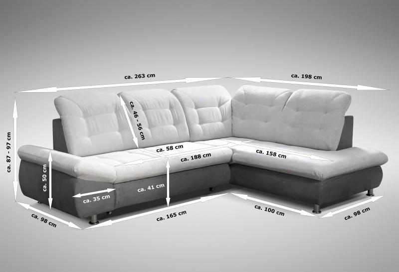 schlafsofa sofa couch ecksofa eckcouch in grau mit schlaffunktion ottawa ebay. Black Bedroom Furniture Sets. Home Design Ideas