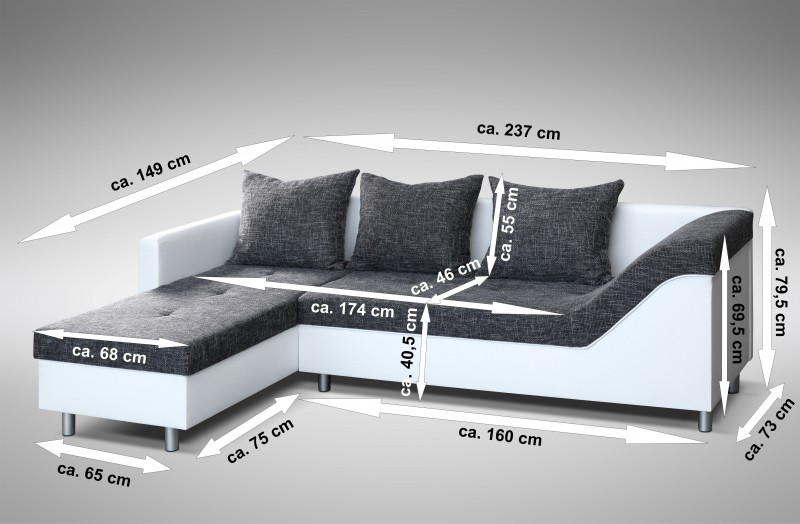 sofa couch ecksofa eckcouch sofagarnitur in weiss. Black Bedroom Furniture Sets. Home Design Ideas