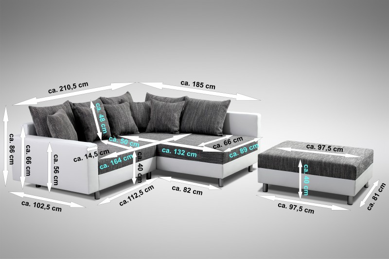 modernes sofa couch ecksofa eckcouch in weiss eckcouch mit. Black Bedroom Furniture Sets. Home Design Ideas