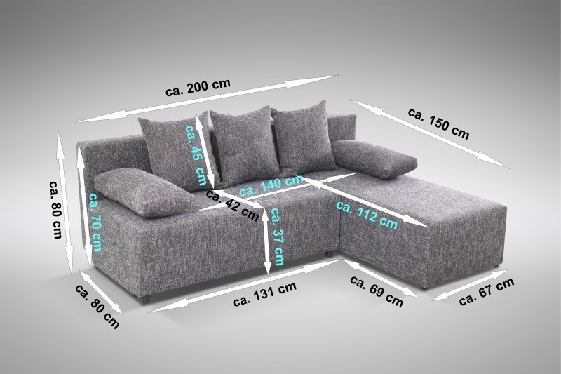 schlafsofa sofa couch ecksofa eckcouch grau schlaffunktion astana l r ebay. Black Bedroom Furniture Sets. Home Design Ideas