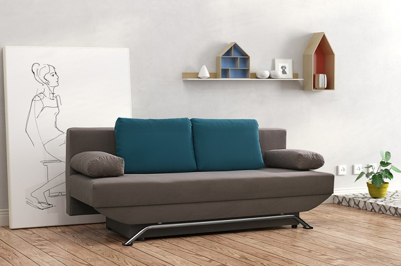modernes schlafsofa sofa couch in graubraun schlaffunktion riga. Black Bedroom Furniture Sets. Home Design Ideas