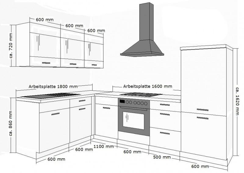 Höhe Küchenzeile Din ~ top kÜche 180×280 cm kÜchenzeile kÜchenblock schwarz + baltimor walnuss neu ebay