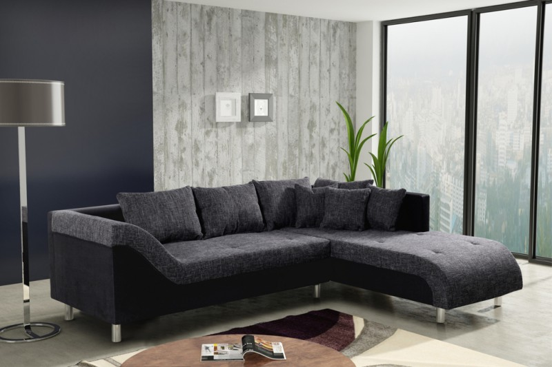 sofa couch ecksofa eckcouch sofagarnitur in graubraun schwarz male r polsterm bel sofa. Black Bedroom Furniture Sets. Home Design Ideas