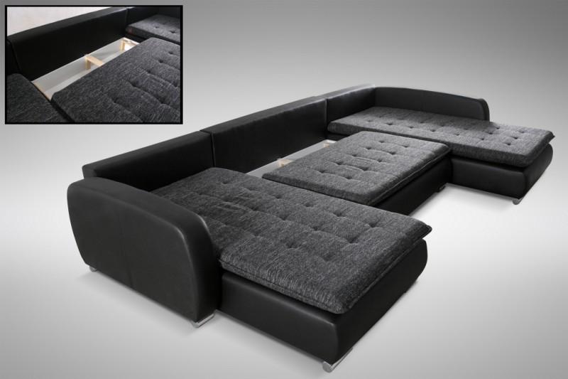 schlafsofa sofa couch ecksofa eckcouch in schwarz schlaffunktion kopenhagen l ebay. Black Bedroom Furniture Sets. Home Design Ideas