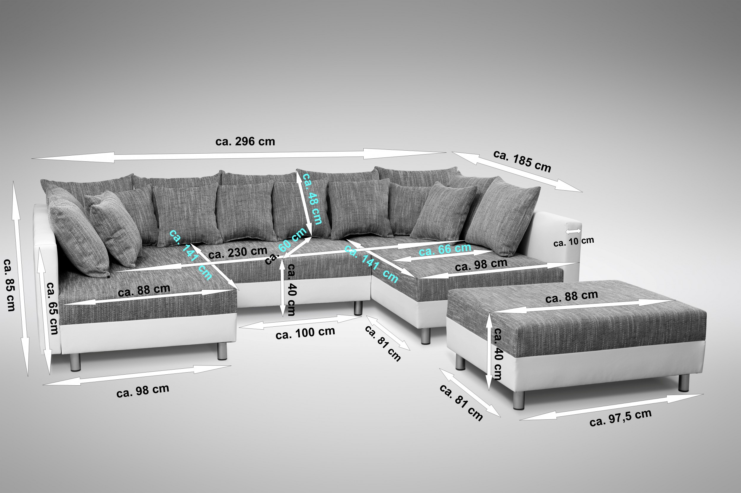 sofa couch ecksofa eckcouch in weiss hellgrau eckcouch mit hocker minsk xxl polsterm bel sofa. Black Bedroom Furniture Sets. Home Design Ideas