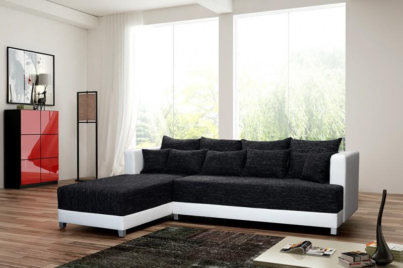 schlafsofa sofa couch ecksofa eckcouch schwarz weiss schlaffunktion wien 1 l gnstig online - Schwarz Wei Sofa