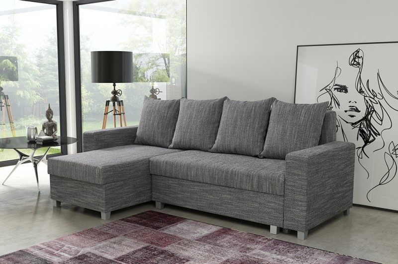 schlafsofa sofa couch ecksofa eckcouch hellgrau schlaffunktion luanda 2 l r polsterm bel sofa. Black Bedroom Furniture Sets. Home Design Ideas