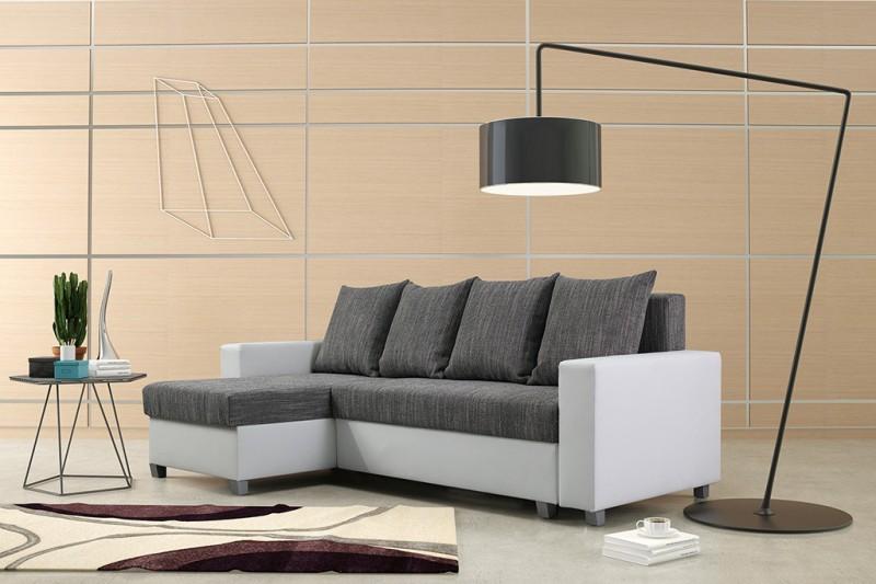 schlafsofa sofa couch ecksofa eckcouch wei hellgrau schlaffunktion luanda 3 l r polsterm bel sofa. Black Bedroom Furniture Sets. Home Design Ideas