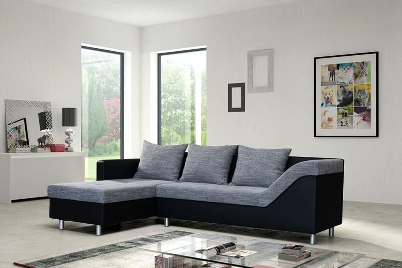sofa couch ecksofa eckcouch sofagarnitur in schwarz. Black Bedroom Furniture Sets. Home Design Ideas