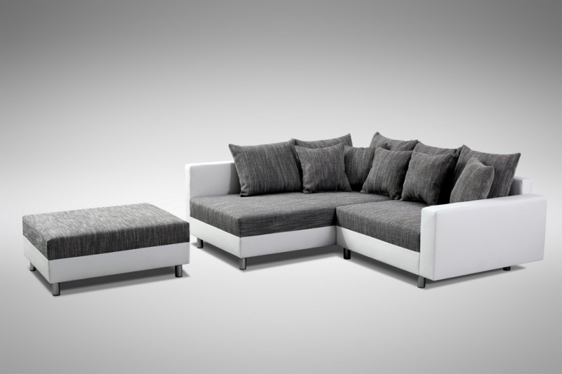 Modernes sofa couch ecksofa eckcouch in weiss eckcouch mit for Couch mit hocker