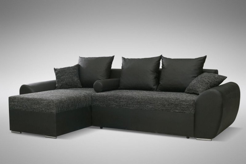 schlafsofa sofa couch ecksofa eckcouch schwarz schlaffunktion ankara 2 l r polsterm bel sofa. Black Bedroom Furniture Sets. Home Design Ideas