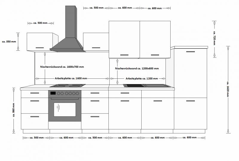 Küche Color 340cm Küchenzeile Küchenblock Einbauküche in Hochglanz ... | {Einbauküchen schwarz 86}