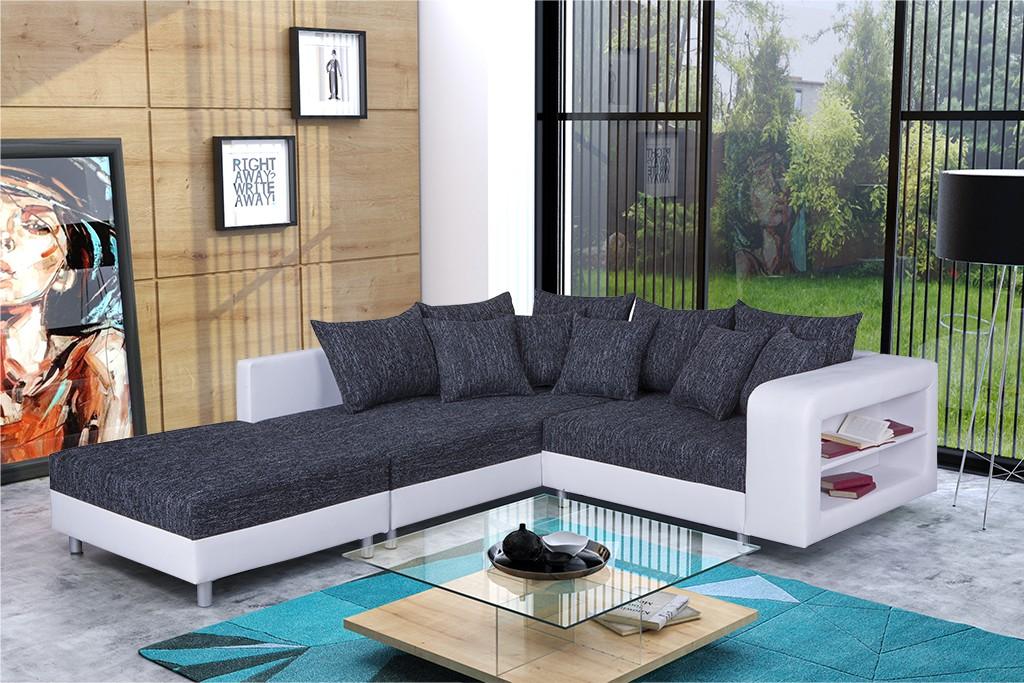 modernes sofa couch ecksofa eckcouch in schwarz weiss mit hocker dresden l ebay. Black Bedroom Furniture Sets. Home Design Ideas