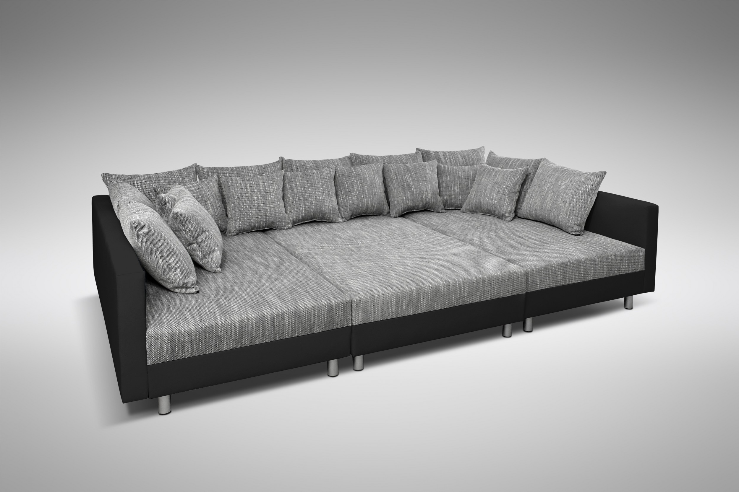 sofa couch ecksofa eckcouch in schwarz hellgrau eckcouch mit hocker minsk xxl polsterm bel sofa. Black Bedroom Furniture Sets. Home Design Ideas