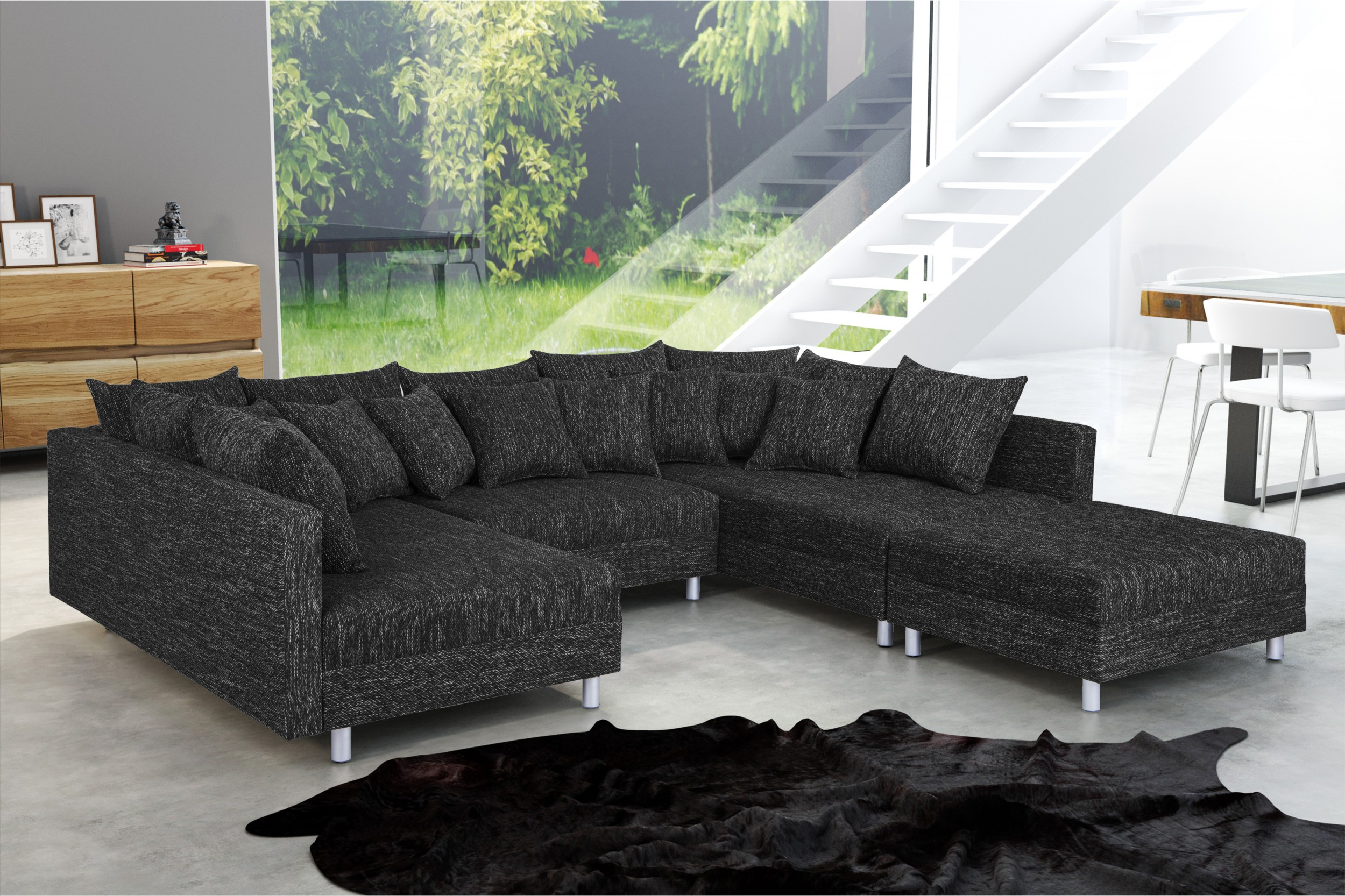 wohnlandschaft sofa couch ecksofa eckcouch in gewebestoff schwarz minsk xxl ebay. Black Bedroom Furniture Sets. Home Design Ideas