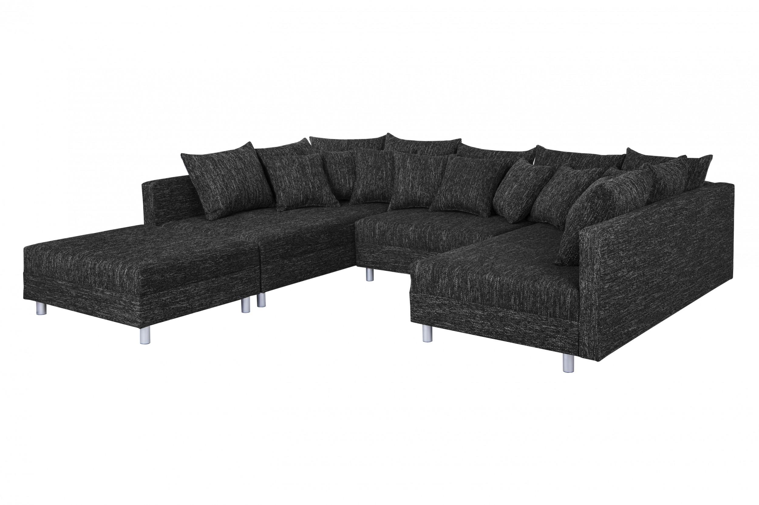 wohnlandschaft sofa couch ecksofa eckcouch in gewebestoff schwarz minsk xxl polsterm bel sofa. Black Bedroom Furniture Sets. Home Design Ideas
