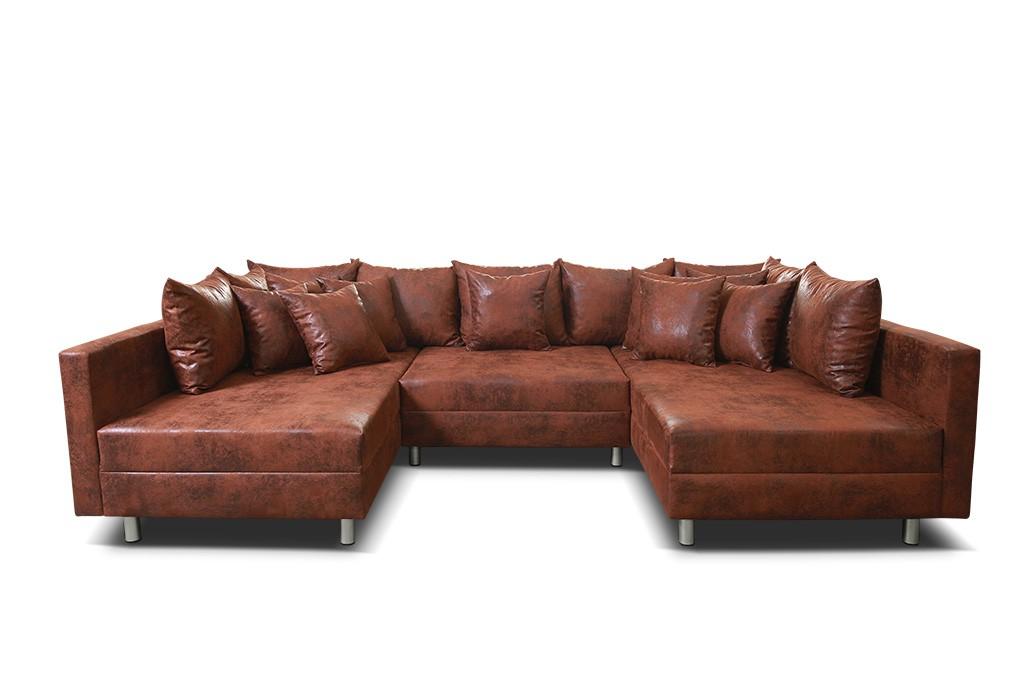 Wohnlandschaft Sofa Couch Ecksofa Eckcouch In Mikrofaser Vintage Braun Minsk Xxl Ebay