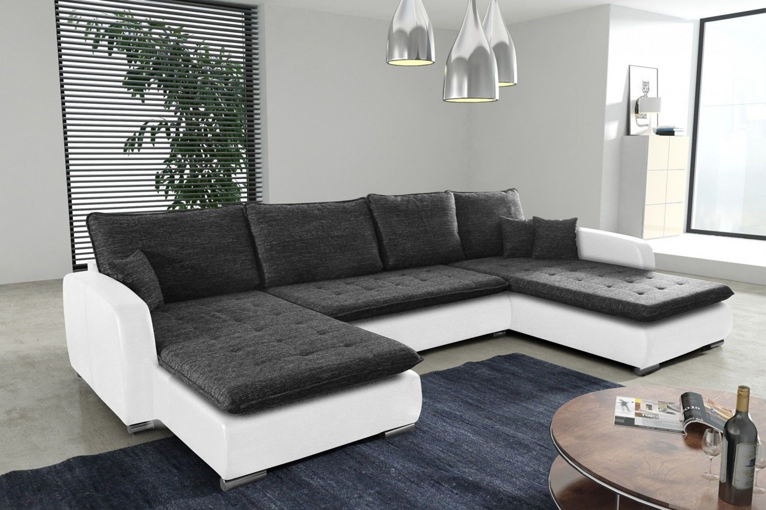 Schlafsofa sofa couch ecksofa eckcouch in grau mit for Eckcouch design