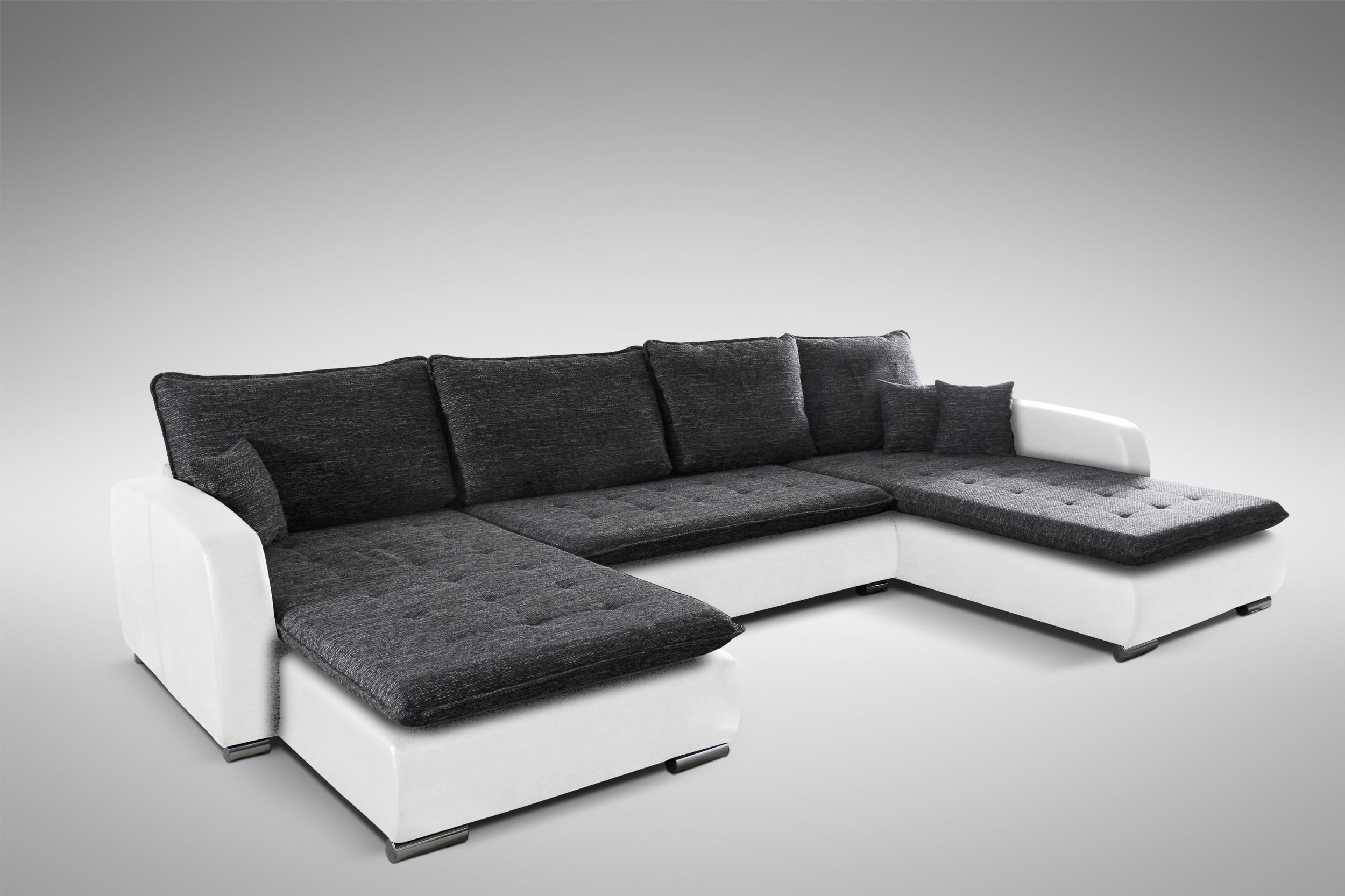 Schlafsofa sofa couch ecksofa eckcouch weiss schwarz for Schlafsofa ecksofa sofa couch inkl schlaffunktion