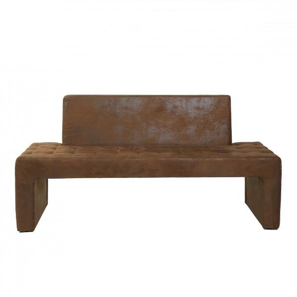design sitzbank karina mit r ckenlehne mirkofaser wildlederlook vintage braun polsterm bel b nke. Black Bedroom Furniture Sets. Home Design Ideas