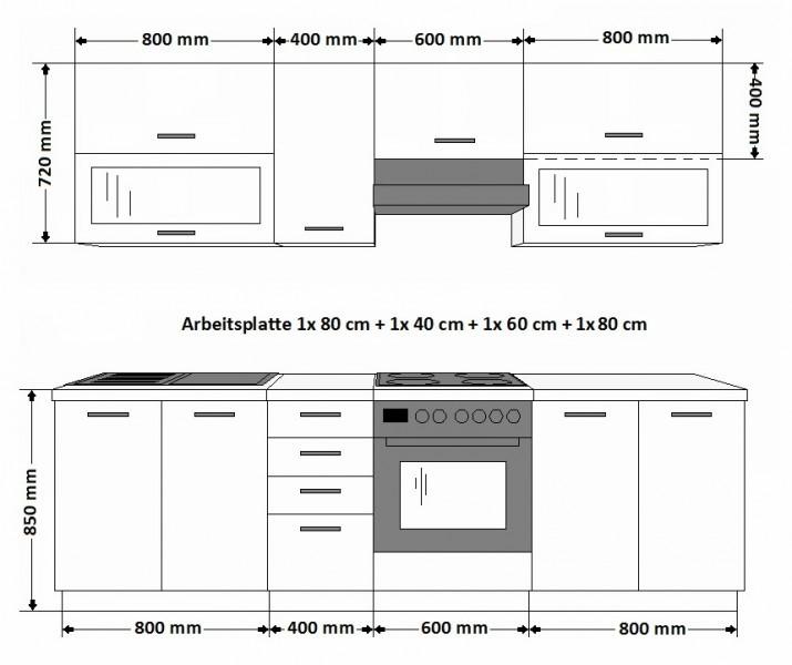 k che ben 260 cm k chenzeile k chenblock variabel stellbar in sonoma eiche hell k chen. Black Bedroom Furniture Sets. Home Design Ideas