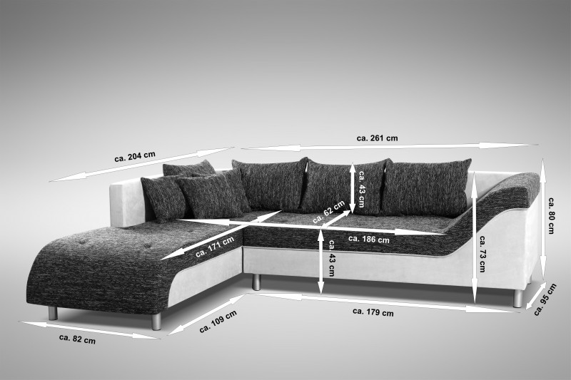 sofa couch ecksofa eckcouch sofagarnitur in schwarz hellgrau male l polsterm bel sofa. Black Bedroom Furniture Sets. Home Design Ideas