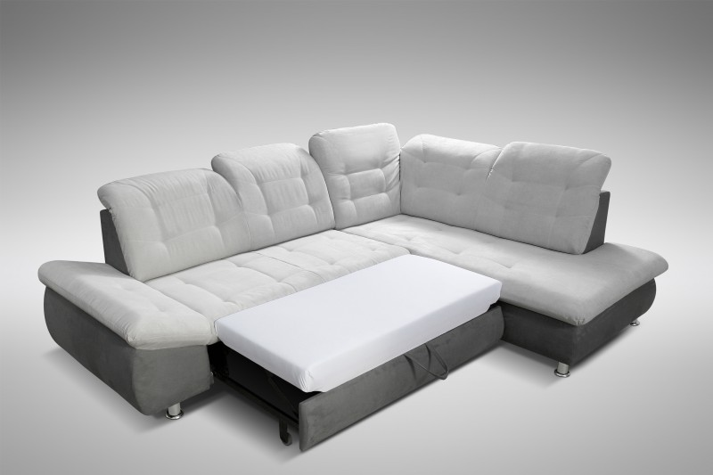 schlafsofa sofa couch ecksofa eckcouch in grau mit schlaffunktion ottawa polsterm bel sofa. Black Bedroom Furniture Sets. Home Design Ideas