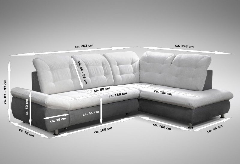 schlafsofa sofa couch ecksofa eckcouch in grau mit. Black Bedroom Furniture Sets. Home Design Ideas