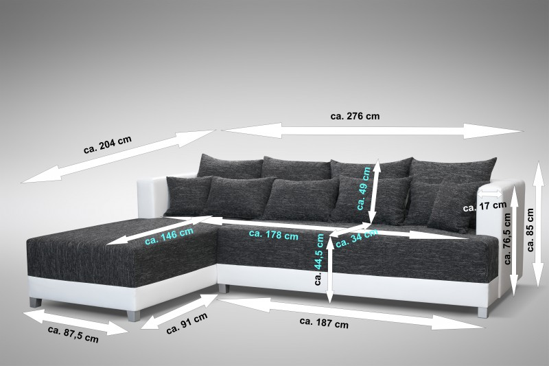 schlafsofa sofa couch ecksofa eckcouch schwarz weiss. Black Bedroom Furniture Sets. Home Design Ideas