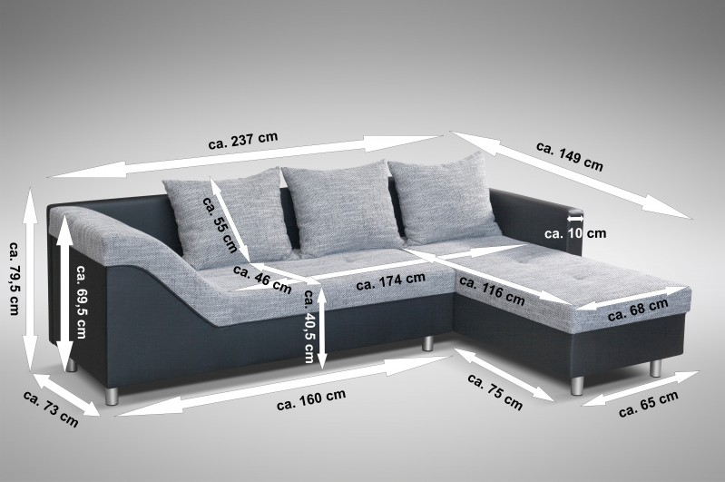 sofa couch ecksofa eckcouch sofagarnitur in schwarz hellgrau lissabon 1 r polsterm bel sofa. Black Bedroom Furniture Sets. Home Design Ideas