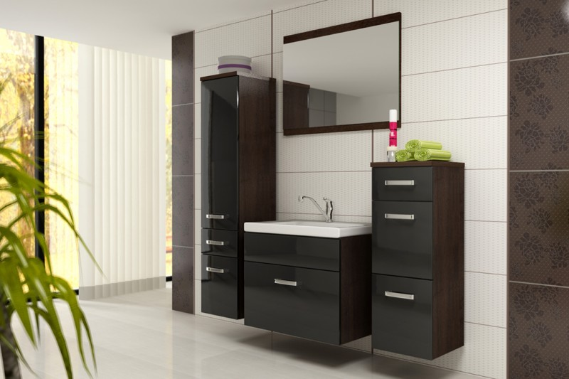 Badm bel badezimmer evo 5tlg set in schwarz wenge for Meuble zebrano