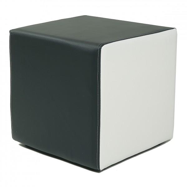 Design Sitzwürfel Kubus I Plus Kunstleder Hocker modern 45x45x45 cm weiss und schwarz ...