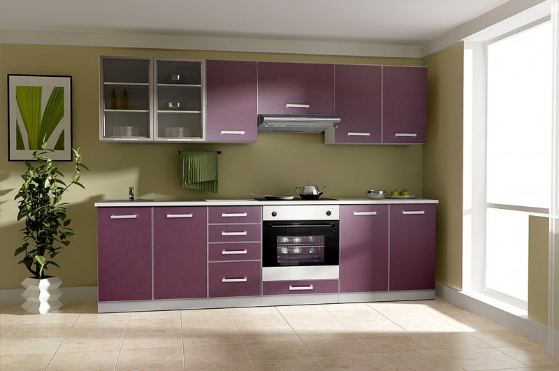 k che emma 260cm k chenzeile k chenblock variabel stellbar in aubergine grau k chen. Black Bedroom Furniture Sets. Home Design Ideas
